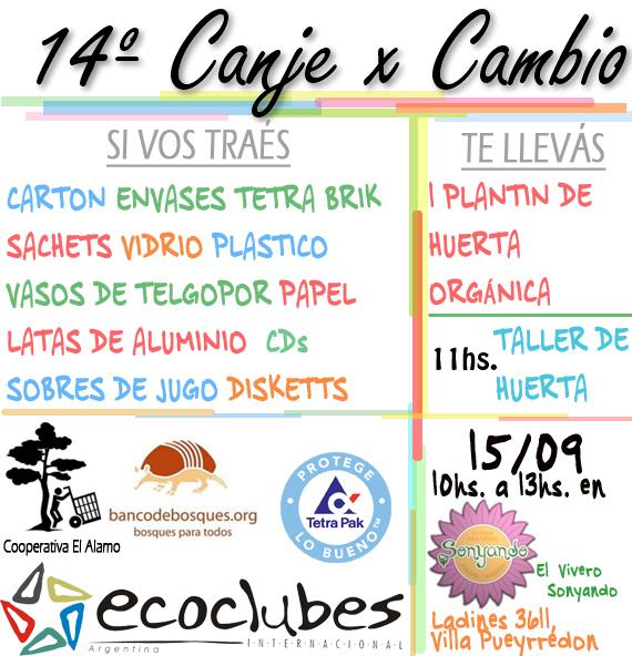 14º CANJE X CAMBIO - 15/09 EN EL VIVERO SONYANDO